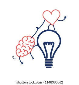 Brain and heart cooperation and teamwork. Vector concept illustration of mind and feelings, heart helps to climb brain on idea bulb | flat design linear infographic icon red and blue on white backgrou