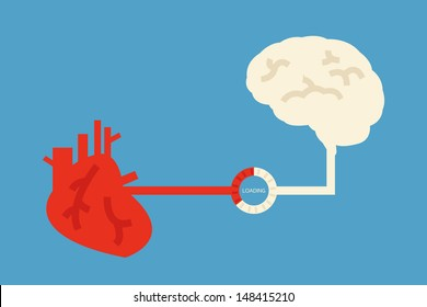 brain and heart design, vector