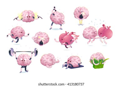 Brain and heart fitness set, cartoon vector isolated images, a part of Brain collection