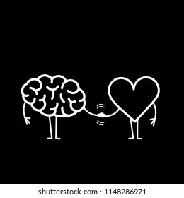Brain and heart handshake. Vector concept illustration of teamwork between mind and feelings | flat design linear infographic icon white on black background