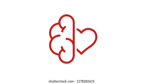Brain and heart isolated on a whit background. Brain in love. Conflict between emotions and rationality. Icon or logo. Red color. Simple modern design. Valentine's day. Flat style vector illustration.