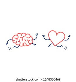 Brain and heart in love running together. Vector concept illustration of mind and feelings cooperation and teamwork | flat design linear infographic icon red and blue on white background