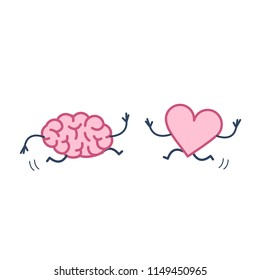 Brain and heart in love running together. Vector concept illustration of mind and feelings cooperation and teamwork | flat design linear infographic icon colorful on white background