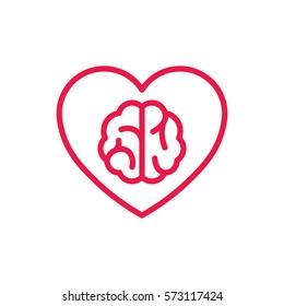 brain in heart thin line red icon on white background, happy valentine day