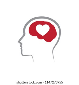 brain and heart, vector illustration