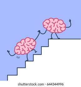 Brain helping hand to success. Vector concept illustration of two brains cooperation on stairs to goal | flat design linear infographic icon on violet background