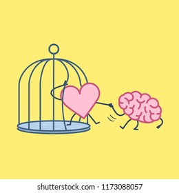 Brain helping heart to escape from cage. Vector concept illustration of support escaping imprisoned heart  | flat design linear infographic icon on yellow background