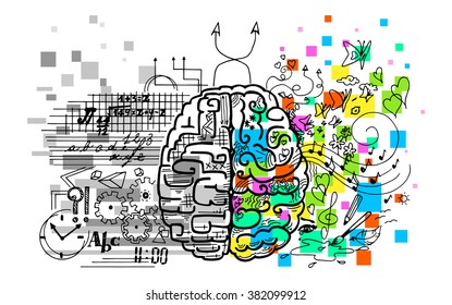 Brain hemispheres functions left and right, vector illustration