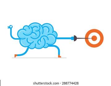 Brain hit the mark. Conceptual illustration of training your brain.