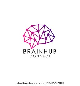 brain hub logo design. brain connection logo