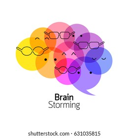 Brain with human face, icon design. Brain storming concept. Illustration.