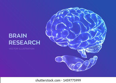 Brain. Human brain research. 3D Science and Technology concept. Neural network. IQ testing, artificial intelligence virtual emulation science technology. Brainstorm think idea. Vector illustration.