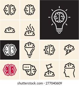 Brain icon. Brainstorm idea icon.
