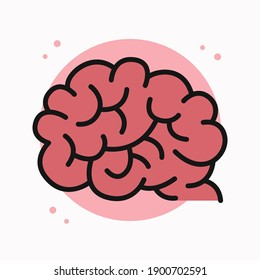 Brain Icon Filled Outline. Brain Anatomy Human Organ Logo. Brainstorm Creativity Design Vector Symbol Illustration