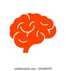 Brain icon flat.