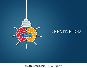 brain icon head with light bulb. sparking creative idea in business and success. on blue background. Vector illustration