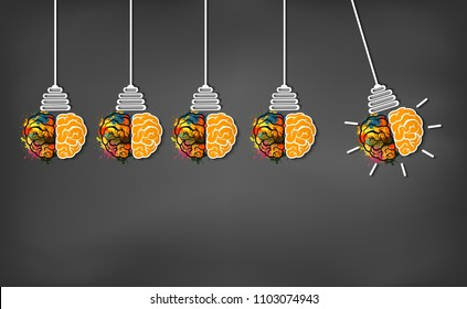 brain icon head with multiple light bulb sparking Many color idea in business. modern creative. on blackboard background. open mind. Vector illustration