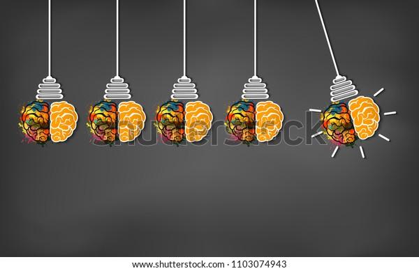 Brain Icon Head Multiple Light Bulb Stock Vector (Royalty