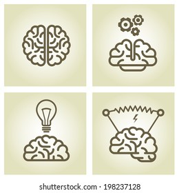 Brain icon - invention and inspiration symbols