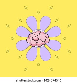 Brain icon with purple flower blossom background. Developing growth mindset concept. Vector illustration outline flat design style.