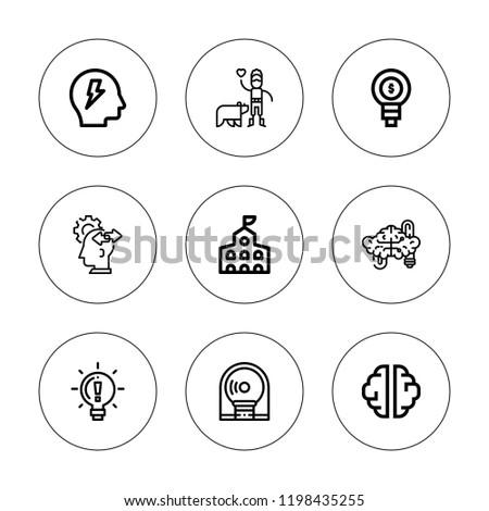 Brain Icon Set Collection 9 Outline Stock Vector Royalty Free