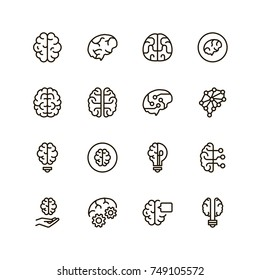 Brain icon set. Collection of high quality black outline logo for web site design and mobile apps. Vector illustration on a white background.