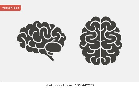 Brain icon set in flat style. Side and top view. Vector illustration.
