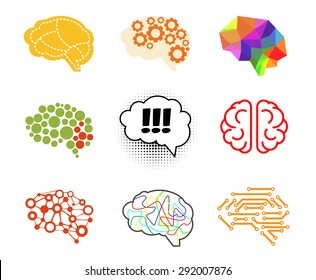 Brain icon set vector illustration