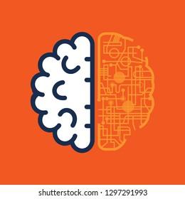 Brain icon technology- vector illustration