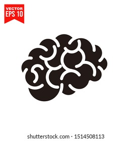Brain icon template black color editable. Brain symbol style vector sign isolated on white background. Simple logo vector illustration for graphic and web design.