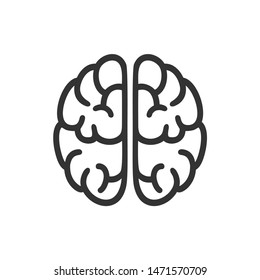 Brain icon template. Simple brain flat design vector
