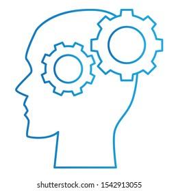 Brain Icon, Vector Illustration, Education Colour Outline