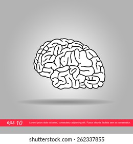 brain icon vector illustration eps10 on grey background