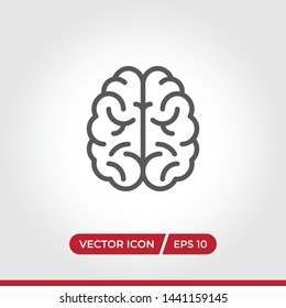 Brain icon vector. Simple brain sign in modern design style for web site and mobile app. EPS10