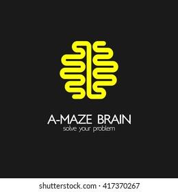 Brain idea design, badges, symbol, concept and logo