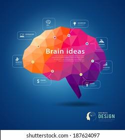 Brain idea geometric info graphics design background, vector illustration