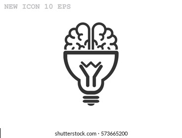 Brain idea icon flat.