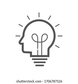 Brain idea icon. Idea and imagination simple liner  icon. Editable Stroke. EPS 10