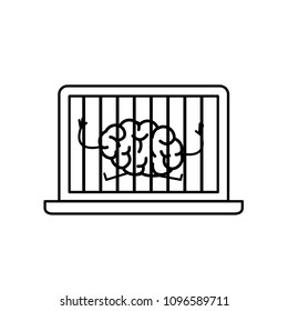 Brain imprisoned in laptop. Vector concept illustration of mind trapped inside computer | flat design linear infographic icon black on white background