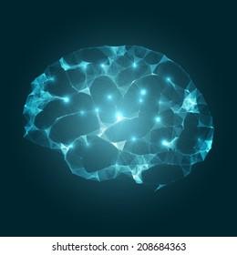 Brain Impulses | Mesh Vector Design | EPS10 Futuristic Technology Concept