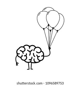 Brain with inflatable balloons, Vector concept creative free mind | flat design linear infographic icon black on white background
