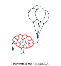 Brain with inflatable balloons, Vector concept creative free mind | flat design linear infographic icon red and blue on white background