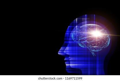 Brain inside head of human artificial intelligence digital wireframe dot vector illustration