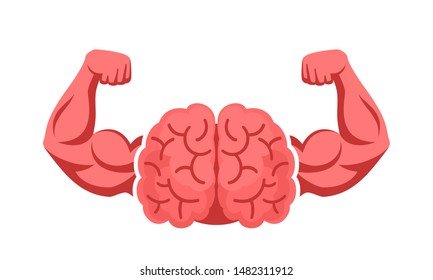 Brain, intellect power. Extreme intelligence, high IQ concept. Brain with strong double biceps. Vector illustration, flat design, cartoon style. Isolated on white background. Front view.