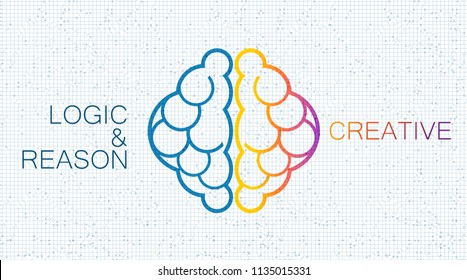 Brain intelligence Human,left and right Concept,logic,reason and creative on White circuit microchip background.