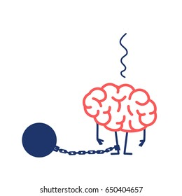 Brain with iron prison ball on chain on feet. Vector concept illustration of restricted and blocked brain | flat design linear infographic icon red and blue on white background
