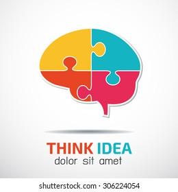 Brain Jigsaw puzzle pieces abstract vector logo design vector template.