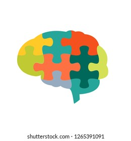 ฺHuman brain in jigsaw puzzles shape on white background. For cognitive rehabilitation in Alzheimer disease and dementia concept.