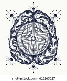Brain and labyrinth tattoo art. Symbol of philosophy, artificial intelligence, psychology, creative thinking. Ingenious brain t-shirt design