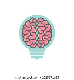 Brain lamp logo design